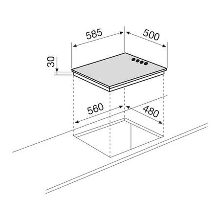 Disegno tecnico Piano cottura da 60 cm - GTL64WH - Glem Gas