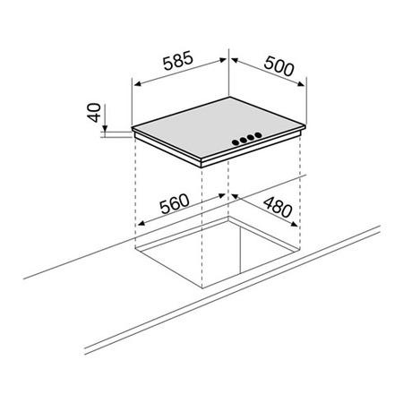 Dessin technique Table gaz 4 foyers 60 cm émaillée blanche - GTL64WH - Glem Gas