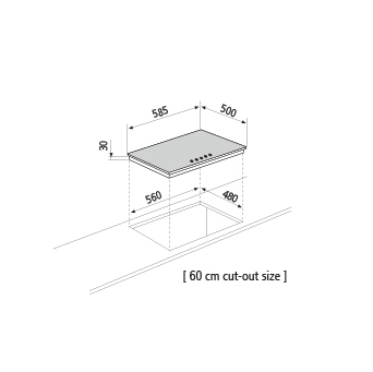 Technical drawing Gas hob - GTL64WH - Glem Gas