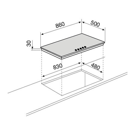 Technical drawing Gas Hob 90 cm black - GTL955BK - Glem Gas