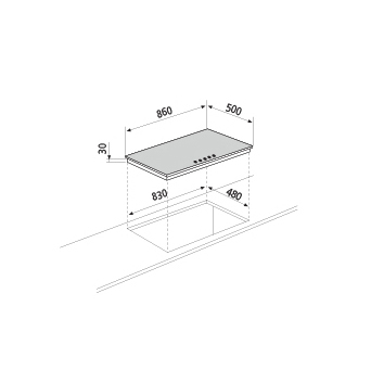 Technical drawing Gas hob - GTL955WH - Glem Gas