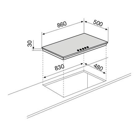 Technical drawing Gas Hob 90 cm - GTL968IX - Glem Gas