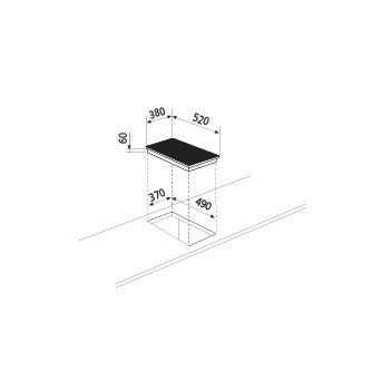 Dessin technique Table à induction - 2 foyers - GTPN42BK - Glem Gas