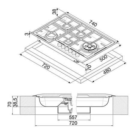 Technical drawing Gas Hob 75 cm - GTS51HIX - Glem Gas
