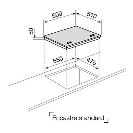 Desenho técnico Placa cristal a gás - GV64GBK - Glem Gas