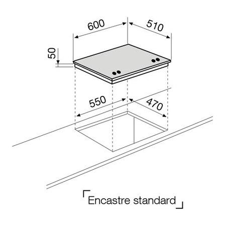 Desenho técnico Placa cristal gás - GV685HGBK - Glem Gas