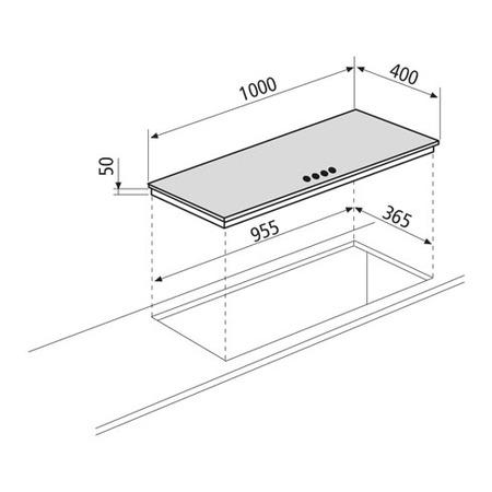 Technical drawing 4 Burners Gas hob 100 cm - GVP145HBK - Glem Gas