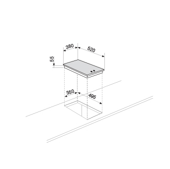 Dessin technique Domino vitrocéramique gaz haute puissance - GVP42HBK - Glem Gas