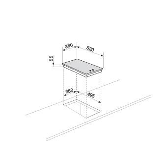 Technical drawing 1 Burners Gas hob - GVP42HBK - Glem Gas
