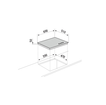 Technical drawing Crystal gas hob - GVP635HBK - Glem Gas