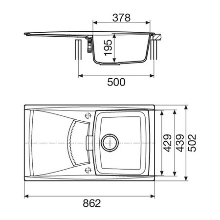 Disegno tecnico Lavello unigranit titanio - L1G86T - Glem Gas