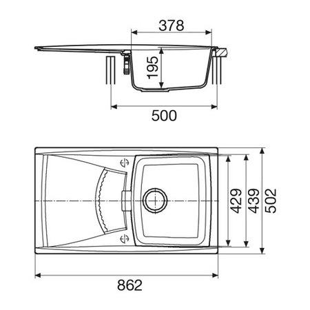 Disegno tecnico Lavello unigranit bianco - L1G86WH - Glem Gas