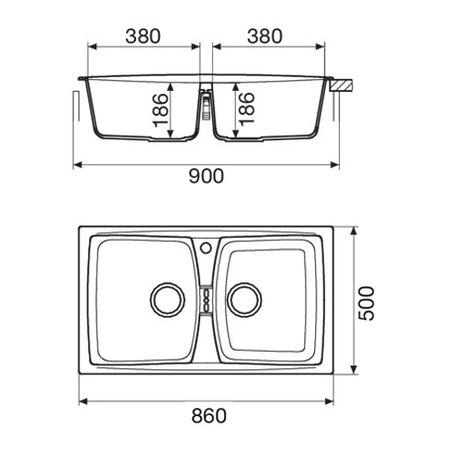 Disegno tecnico Lavello unigranit sabbia - L286S - Glem Gas