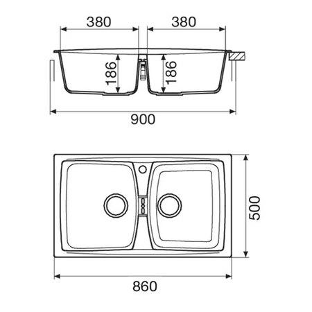 Disegno tecnico Lavello unigranit titanio - L286T - Glem Gas