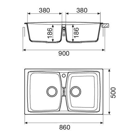 Disegno tecnico Lavello unigranit bianco - L286WH - Glem Gas