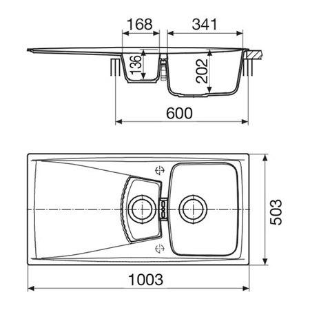 Disegno tecnico Lavello unigranit titanio - L2G10T - Glem Gas