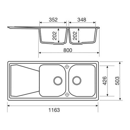 Disegno tecnico Lavello unigranit antracite - L2G16A - Glem Gas