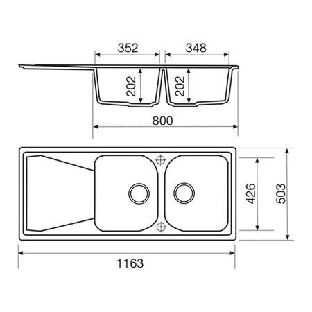 Disegno tecnico Lavello unigranit titanio - L2G16T - Glem Gas
