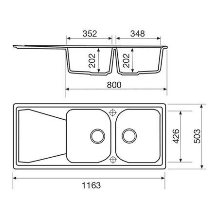 Disegno tecnico Lavello unigranit bianco - L2G16WH - Glem Gas