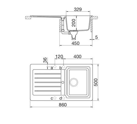 Disegno tecnico Lavello Unigranit Plus Croma - LS1G86C - Glem Gas