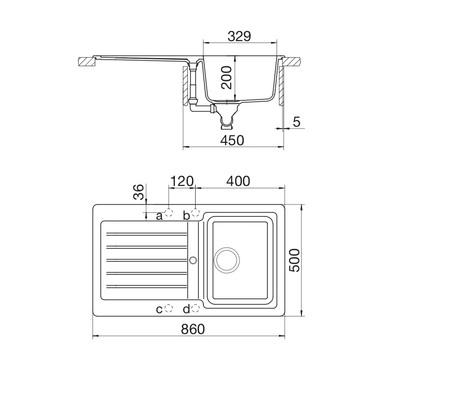 Disegno tecnico Lavello Unigranit Plus Bianco - LS1G86WH - Glem Gas