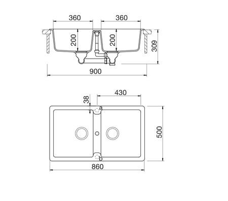 Disegno tecnico Lavello Unigranit Plus Croma - LS286C - Glem Gas