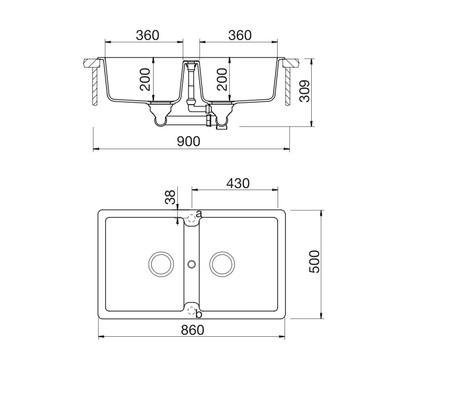 Disegno tecnico Lavello Unigranit Plus Sabbia - LS286S - Glem Gas