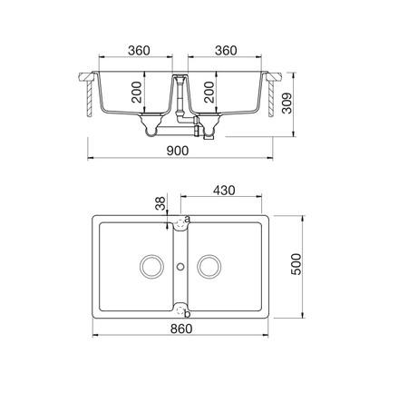 Disegno tecnico Lavello Unigranit Plus Bianco - LS286WH - Glem Gas