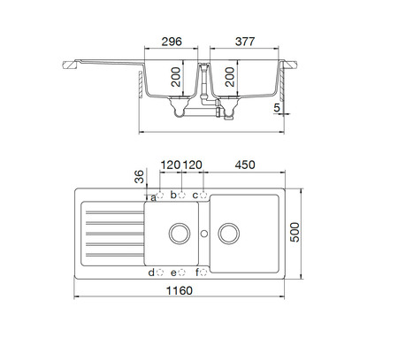 Disegno tecnico Lavello Unigranit Plus Croma - LS2G16C - Glem Gas