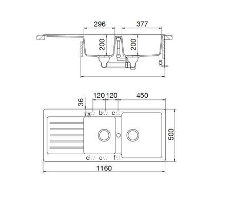 Disegno tecnico Lavello Unigranit Plus Sabbia - LS2G16S - Glem Gas