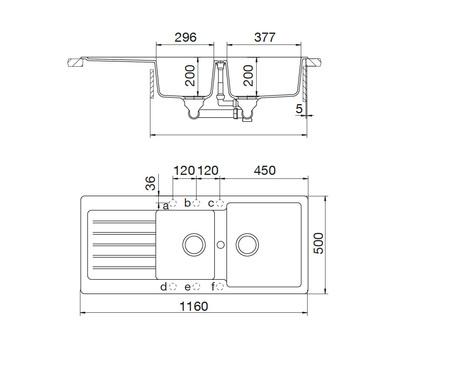 Disegno tecnico Lavello Unigranit Plus Bianco - LS2G16WH - Glem Gas