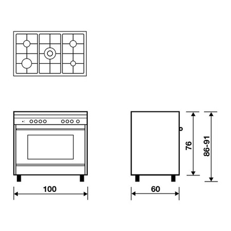 Technical drawing Static electric oven - electric grill - M165EI - Glem Gas