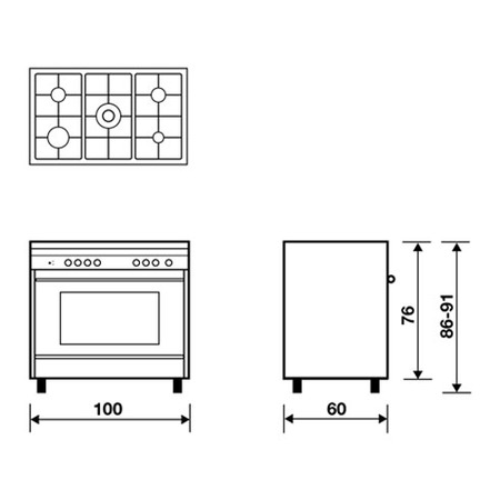Technical drawing Static Gas Oven Grill gas - M165GI - Glem Gas