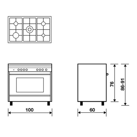 Technical drawing Multifunction Gas oven with fan - M165RI - Glem Gas