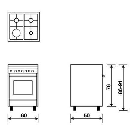 Desenho técnico Forno eléctrico multifunções - M654MI - Glem Gas