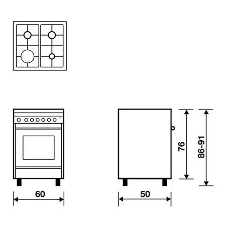 Desenho técnico Forno a gás multifunções com ventoinha - M654VI - Glem Gas