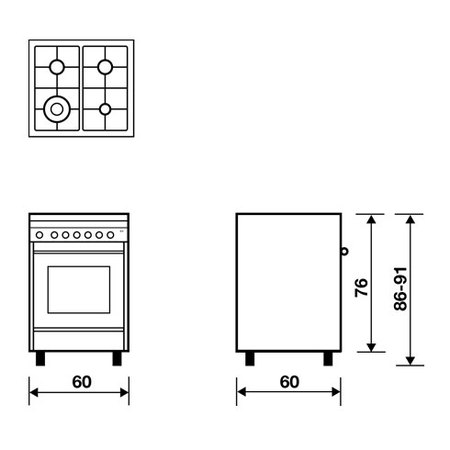 Desenho técnico Forno eléctrico multifunções - M664MI - Glem Gas