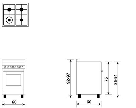 Disegno tecnico Forno Multifunzione 9pos. (con PRH e PIZZA) - M664MI - Glem Gas