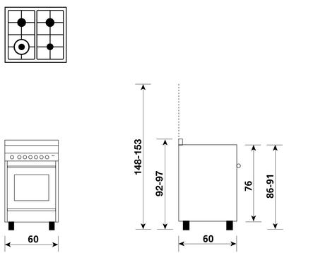 Disegno tecnico Forno Multifunzione 9pos. (con PRH e PIZZA) - M664MIC - Glem Gas