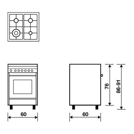 Desenho técnico Forno a gás multifunções com ventoinha - M664VI - Glem Gas