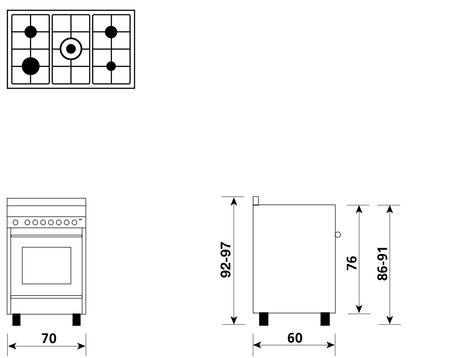 Disegno tecnico Forno Multifunzione 9pos. (con PRH e PIZZA) - M765MI - Glem Gas