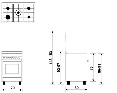 Disegno tecnico Forno Multifunzione 9pos. (con PRH e PIZZA) - M765MIC - Glem Gas
