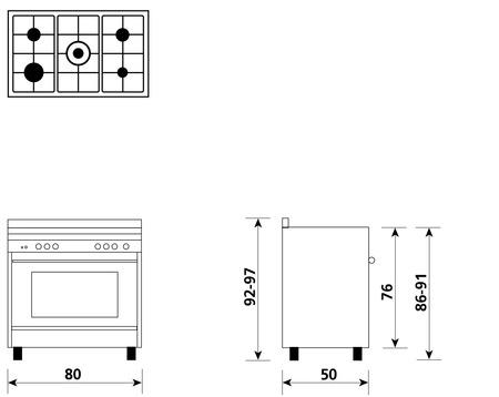 Disegno tecnico Forno Multifunzione 9pos. (con PRH e PIZZA) - M855MI - Glem Gas
