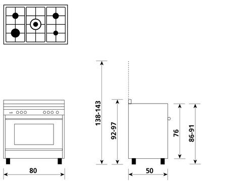 Disegno tecnico Forno Multifunzione 9pos. (con PRH e PIZZA) - M855MIC - Glem Gas