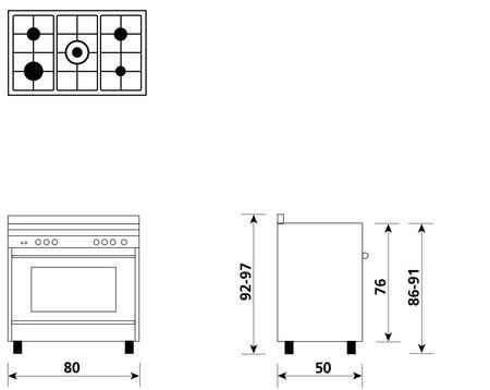 Disegno tecnico Gas ventilato - M855VI - Glem Gas