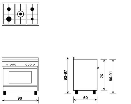 Disegno tecnico Forno Multifunzione 9pos. (con PRH e PIZZA) - M965MI - Glem Gas