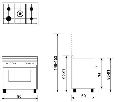 Disegno tecnico Forno Multifunzione 9pos. (con PRH e PIZZA) - M965MIC - Glem Gas