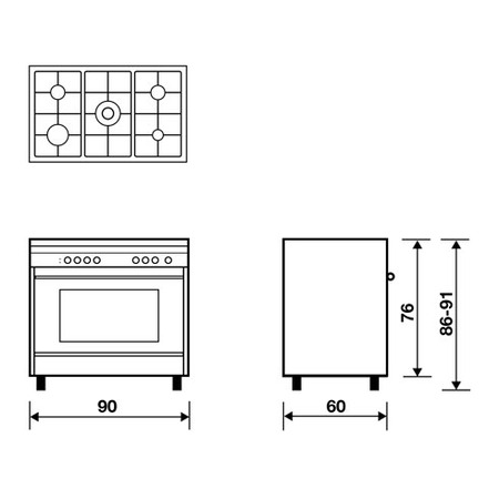 Technical drawing Multifunction Gas oven with fan - M965RI - Glem Gas