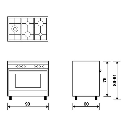 Technical drawing Static Gas Oven Grill gas - M96TGI - Glem Gas