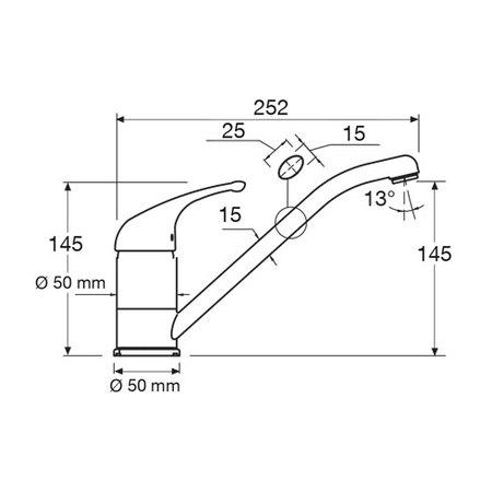 Disegno tecnico Miscelatore - MIXNWH3 - Glem Gas